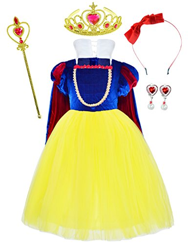 Princess Snow White Deluxe Costume For Girls Dress Up With Accessories 6-7 Years(130cm) -