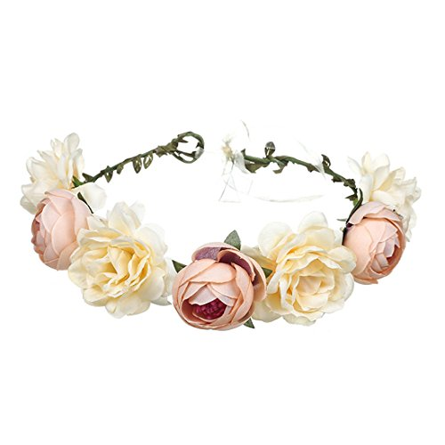 June Bloomy Women Rose Floral Crown Hair Wreath Leave Flower Headband With Adjustable Ribbon (Champagne)]()