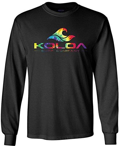 Koloa Surf Rainbow Wave Logo Long Sleeve Cotton T-Shirt-Black-XL