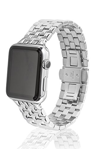 42mm JUUK Locarno Premium Apple Watch band, made with Swiss quality using only the highest grade solid 316L stainless steel with a solid steel butterfly deployant buckle (Polished) by JUUK