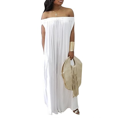 Womens Off The Shoulder Loose Wide Leg Palazzo Pants Jumpsuit Long Rompers Summer Casual Plus Size White L
