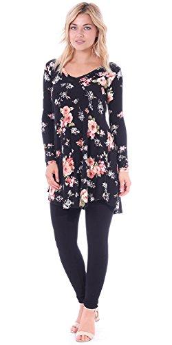 4f338f09de1 Popana Women s Tunic Tops for Leggings Long Sleeve Shirt Plus Size Made in  USA Medium ST75