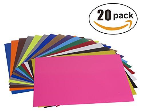 Handy Crafts 12'' x 10'' Heat Transfer Vinyl HTV Iron On Sheets | 20 Pack of Assorted Colors Plus 1 Bonus Teflon Sheet by Handy Crafts