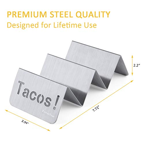 KitchenTour Taco Holder Stand 2 Pack - Stylish 'Tacos!' Hollow Out Design Stainless Steel Taco Rack Holds Perfect for HARD or SOFT Tacos Shell - Keep Tacos Upright without Any Mess by KitchenTour (Image #1)
