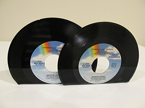 vinyl-record-bookends-45-rpm-records-george-strait-on-mca-records-famous-last-words-drinking-champag
