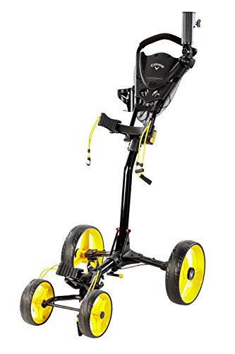 Callaway Trek Push Cart Trek 4-Wheel Compact Push Cart, Black/Yellow