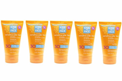 Lot of 5 Kiss My Face Sunscreen Sensitive Side 3 in 1 with Oat Protein Complex (SPF 30 Sunblock, 4 oz) Expiry on 12/18 - Oat Protein Sunscreen