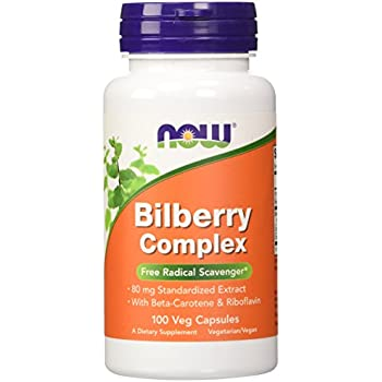 NOW Bilberry Complex with Beta Carotene,100 Veg Capsules
