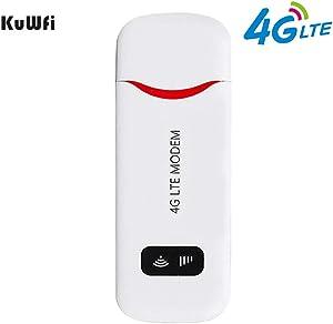 VSVABEFV Unlocked 4G LTE USB Modem 100 Mbps Mini USB 4G Dongle Portable WiFi Hotspot Router with SIM Card Slot Support B1/B2/B4/B5/B17 for USA/CA/MX Network Band