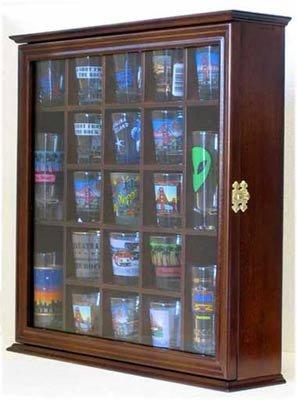 Shot Glass Display Case Wall Cabinet Shadow Box, with glass door, Walnut Finish SC01-WAL