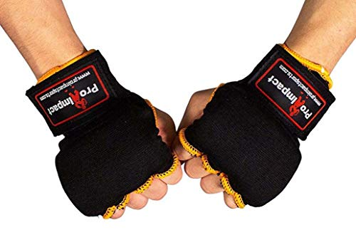 Pro Impact Boxing MMA Men & Women Kickboxing Muay Thai Quick Knuckle Wrist Wrap Protector Handwraps Padded Inner Gloves Elastic Hand Wraps for Boxing Gloves Quick Wraps