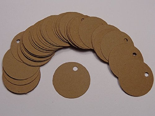 Small Kraft Brown Circle Tags - 1'' round paper tags - Gift Tags - Price Tags - One Inch Size (Set of 125) by Honeybear Party Boutique