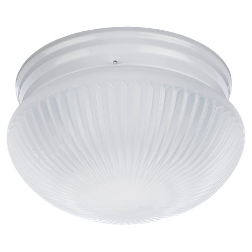 Sea Gull Lighting 59440BLE-15 Flush Mount with Satin White Ribbed Glass Shades, White Finish (15 White Ribbed Glass)
