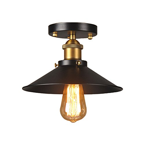 Vinteen Northern Europe Simple American Industrial Wind Ceiling Light Single Head Little Black Dress Chandelier Vintage Edison Lights Loft Black Metal Shade Cone Mini Semi Flush Mount Pendant Lights H