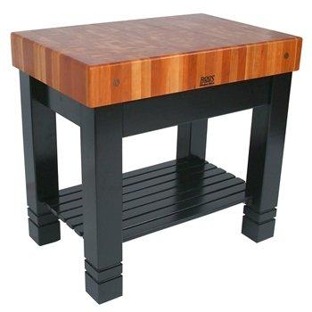John Boos Cherry Top Table w Black Painted Base (John Boos Square Table)
