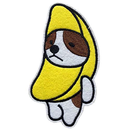 バナナ 犬 ワッペン 刺繍 アイロン接着 縦10.7cm×横5.9cm フルーツ DOG いぬ キャラクター アップリケ アイロンワッペン 手芸 かわいい WAPPEN