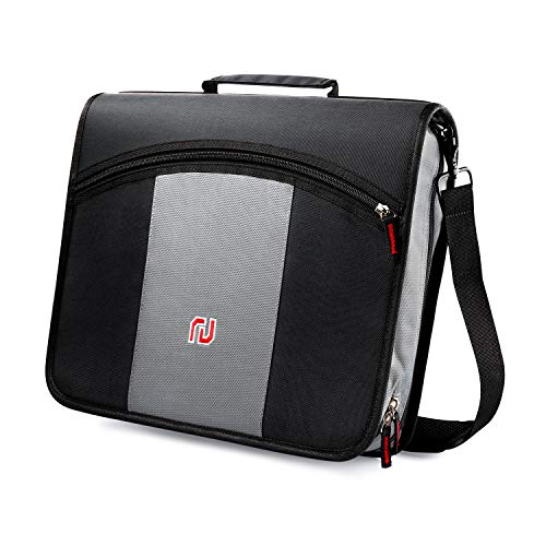 Nekmit 3-Inch Zipper Binder, 3 Rings Binder with Expanding File and Shoulder Strap, Black ()