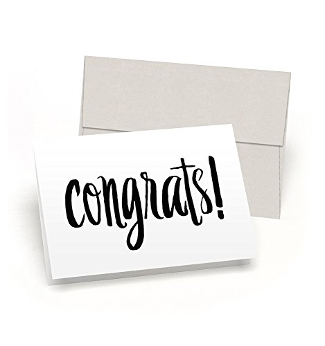 Congrats! Set of 10 Blank Congratulations Cards with Gray Linen Envelopes - All-Occasion Note Card Bulk Set - Proudly Made in the USA By Palmer Street Press
