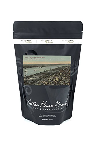 New York, NY - North River View and Docks (8oz Whole Bean Small Batch Artisan Coffee - Bold & Strong Medium Dark Roast w/ Artwork) (River Dock)