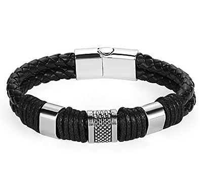39dd8b96a11 Bracelet Homme Cuir Noir Tressé et Titanium avec housse velour noir ...