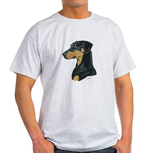 CafePress Doberman Pinscher Artwork Design by Paula Cook 100% Cotton T-Shirt Ash Grey