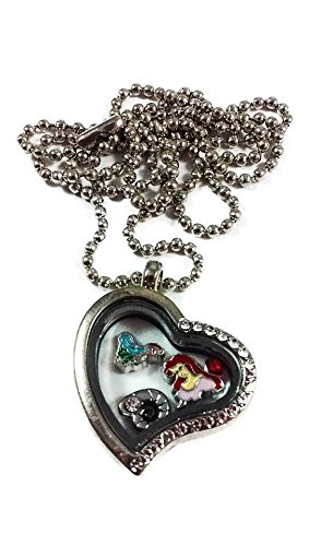 Locket Heart Princess Charm Jewelry (Disney Princess Ariel By Living Memory Lockets for Less Charm Necklace The Little Mermaid Movie)