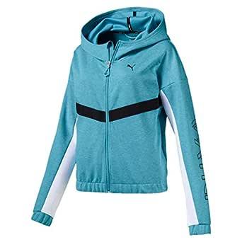 PUMA Women's HIT Feel IT Sweat Jacket, Milky Blue Heather, L