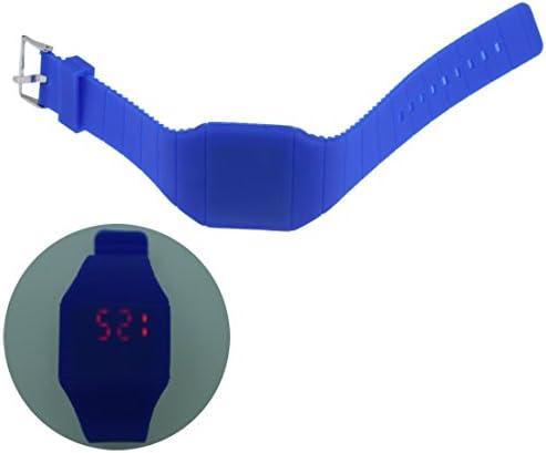 SODIAL(R) Montre pour Filles Tactile Numerique LED Silicone Montre Ultra-Mince Bleu