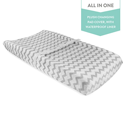 Waterproof Plush Change Pad Cover 100% Cotton Grey and White Chevron Velvet by Elys & Co no Need for Changing Pad Liner