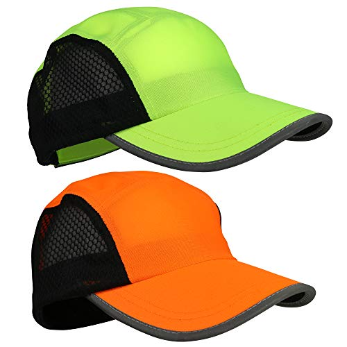 Running Hat 2pack for Men and Women Reflective Gear for Night Safety Great for Jogging, Sports and Outdoors | Mesh Panel for Breathability, Quick Dry, Lightweight, Adjustable Rear Closure, Comfortable