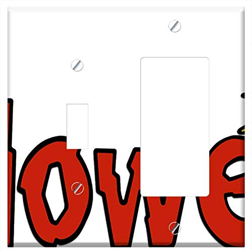 1-Toggle 1-Rocker/GFCI Combination Wall Plate Cover - Halloween Pop Art Cartoon Animation Message S -
