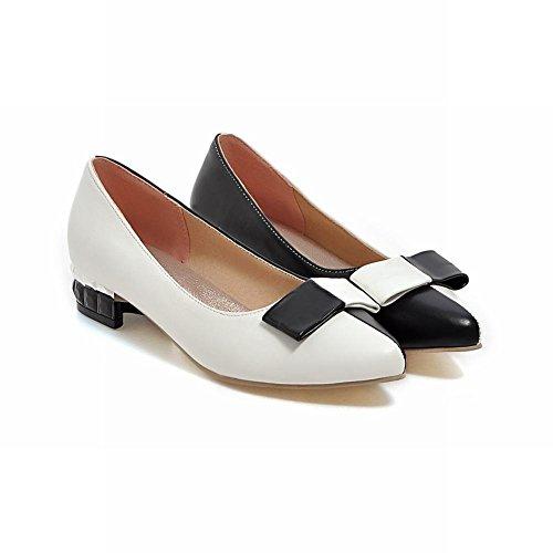 Carolbar Womens Bågar Blandade Färger Pekade Tå Mode Låg Klack Loafers Pumpar Skor Vita