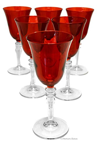 Set 6 Ruby Red Glass Pedestal 9oz White Wine Goblet Glasses in Gift Box