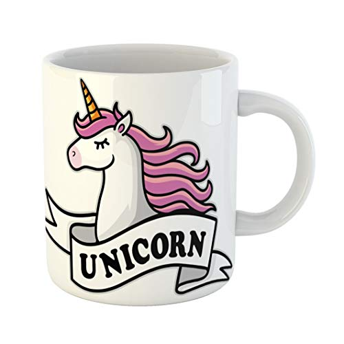 Emvency 11 Ounces Coffee Mug Pink Abstract Unicorn Head Mascot White Ribbon Amazing Animal Beauty Cartoon Club White Ceramic Glossy Tea Cup gift