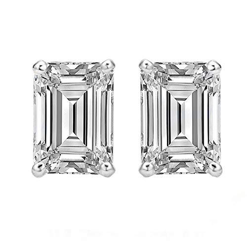 (14k Gold Butterfly Backings & Sterling Silver Basket Settings Emerald Cut Cubic Zirconia Stud Earrings)