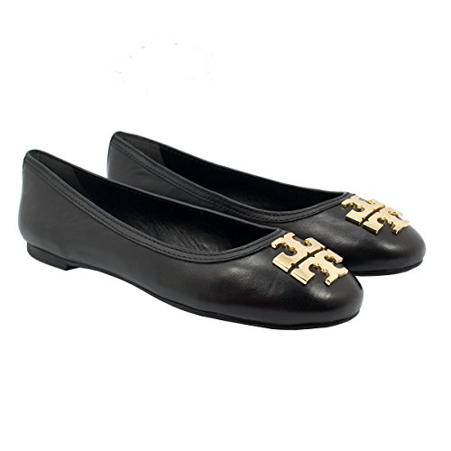 Tory Burch Laura Ballet Mestico Leather Flats, Style No. 34289 (8, Black/Gold) by Tory Burch