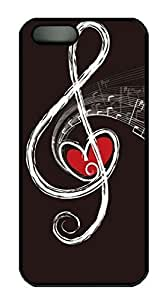 Rubber Back and DIY Case Cover For iPhone 5C Custom Soft TPU Single Shell Skin For iPhone 5C-Loving Heart in Music Note