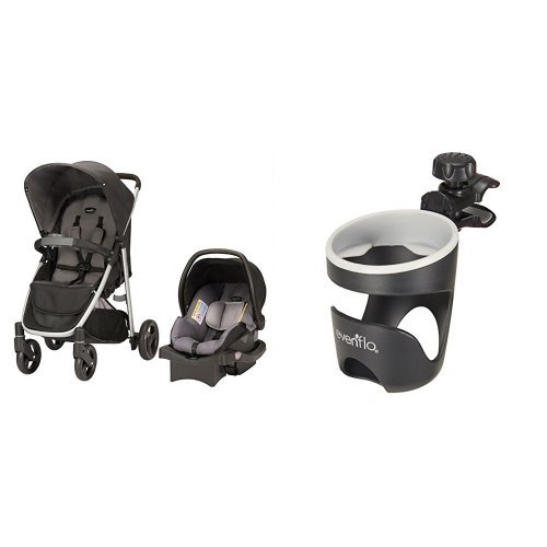 Evenflo Flipside Travel System, Glenbarr Gray with Universal Cup Holder
