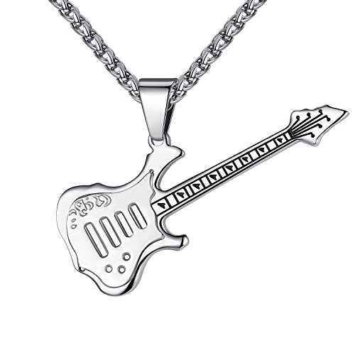 Men's Stainless Steel Guitar Pendant Necklace, Silver-Tone, 24'' Link Chain, ddp054yi