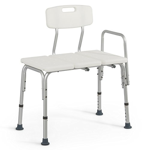 Onebigoutlet© Medical Deluxe Bath Chair Transfer Bench with 3 Position Backrest, White Deluxe Transfer Bench