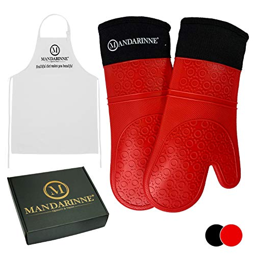 Mandarinne Silicone Oven Mitts and Apron Set - Heat Resistant Grill Mitts - Extra-Long Professional Heat-Resistant Mitts - Quilted Cotton Lining - High Durability - Red Oven Gloves + White - Mitt Oven Silicon