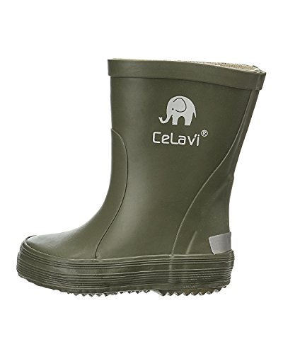 CELAVI Kinder Wasserdichte Gummistiefel, 100% Naturkautschuk Regenstiefel, 1147 Army