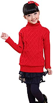 Soojun Girls Essentials Long Sleeve Cable Knit Turtleneck Sweater
