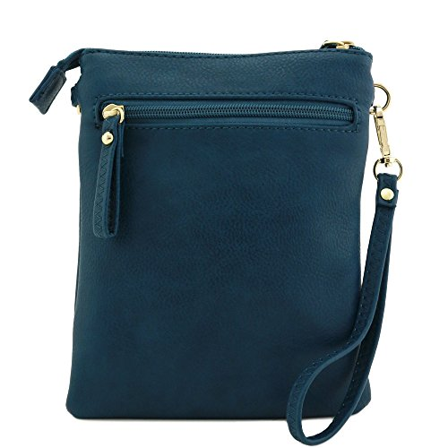Bag Pocket Zipper Teal Wristlet Multi Crossbody nI1WqFgg
