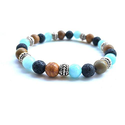 Lava Stone Meditation Mala African Tibet Bead Turquoise Howlite Oil Diffuser Bohemia Elastic Bracelet ()
