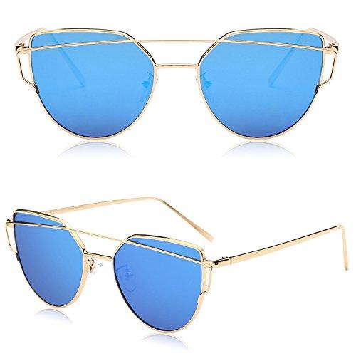 De Dorado De Lentes Marca Moda Gafas Estilo SJ1001 Azul SOJOS De Sol Para Mujer Frente Planos C10 Metal Gato Espejo Con De Lentes Ojo xaRqX