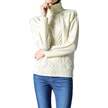 Viottis Women's Cable Knit Turtleneck Long Sleeve Pullover Sweater Jumper