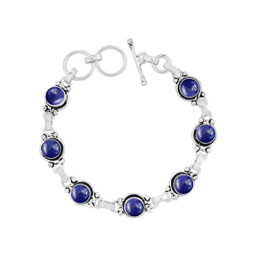 Sterling Lapis Bracelet - Genuine 7mm Round Shape Lapis Link Bracelet 925 Silver Overlay Handmade Jewelry for Women Girls