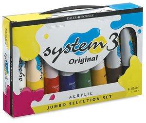 Daler-Rowney System 3 Acrylic Jumbo Set of 8 150ml (Daler Rowney System)