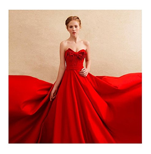 Rot Arme Abendkleid Beauty-emily Rohr Ohne Tailing Trägerloses Schatz Bowknot A-linie Sweep